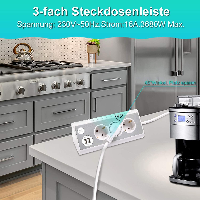 Multifunktionale Edelstahlfrontplat Ecksteckdose 1,4m Kabel f/ür K/üche und B/üro 3-fach Steckdosenleiste mit 2 USB-Anschluss und LED-Nachtlicht KS Mehrfachsteckdose Kinderschutz mit Schalter