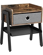 VASAGLE Table de Chevet Vintage, Table d'appoint, Table Basse, avec Tiroir en Tissu Amovible, Étagère en Treillis, Armature métallique, Vintage, Noir LET64X