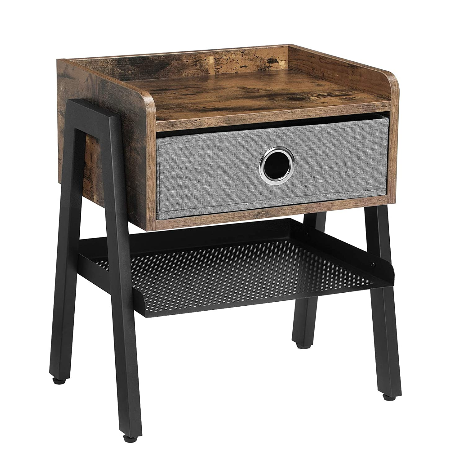 SONGMICS Industrial Nightstand, End Table with Metal Shelf, Side Table for Small Spaces, Wood Look Accent Furniture with Metal Frame ULET64X