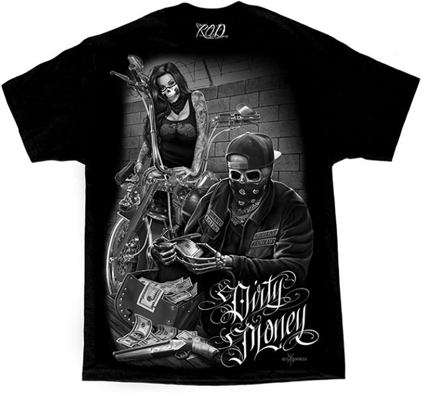 Bonnie & Clyde Dirty Money David Gonzales Art DGA Ride Or Die Men's T Shirt