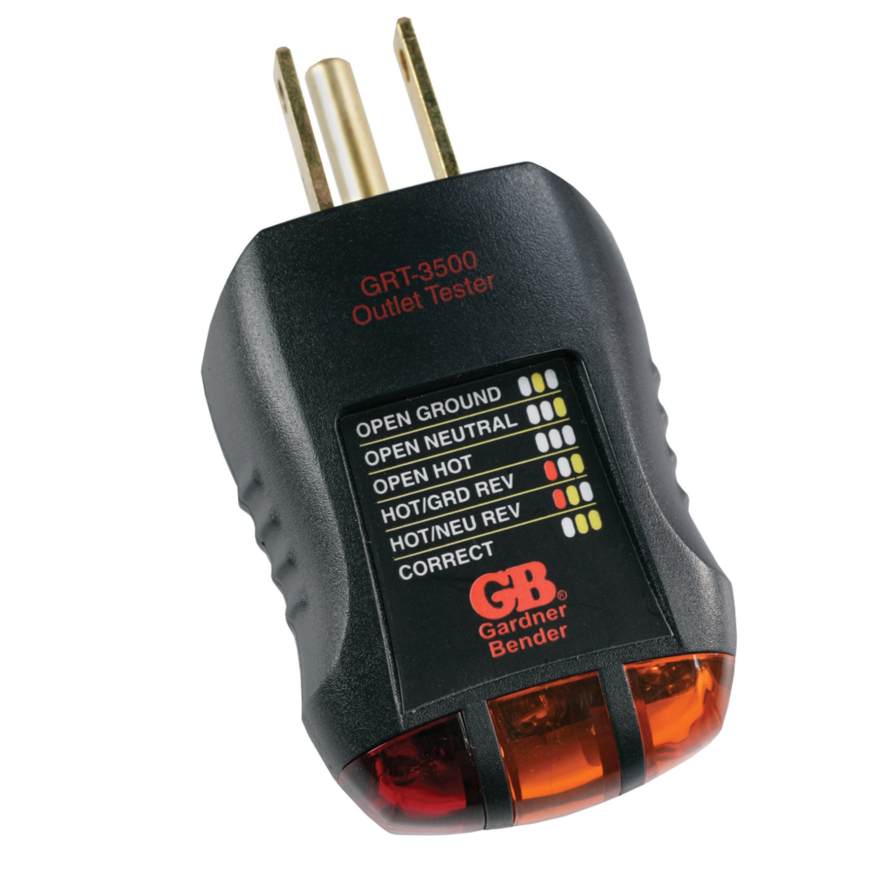Gardner Bender GRT-3500 Outlet Receptacle Tester & Circuit Analyzer,  Indicates 5 Wiring Errors