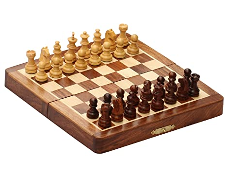 BKRAFT4U Handmade Wooden Rosewood Foldable Magnetic Chess Game Board With  Storage Slots, 7 Inch