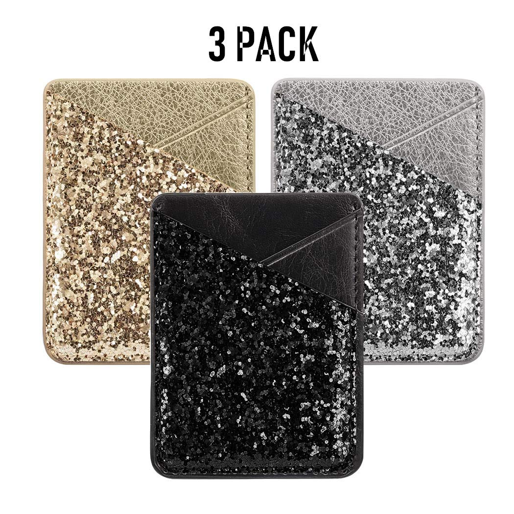 Phone Card Holder, DECVO Case-Mate PU Leather Bling Glitter Phone Card Cash Credit Wallet Holder Removable Adhesive Stick-on Fits iPhone Samsung Galaxy Android Smartphones Multi Colors (3 Pack) (GSB) by DECVO