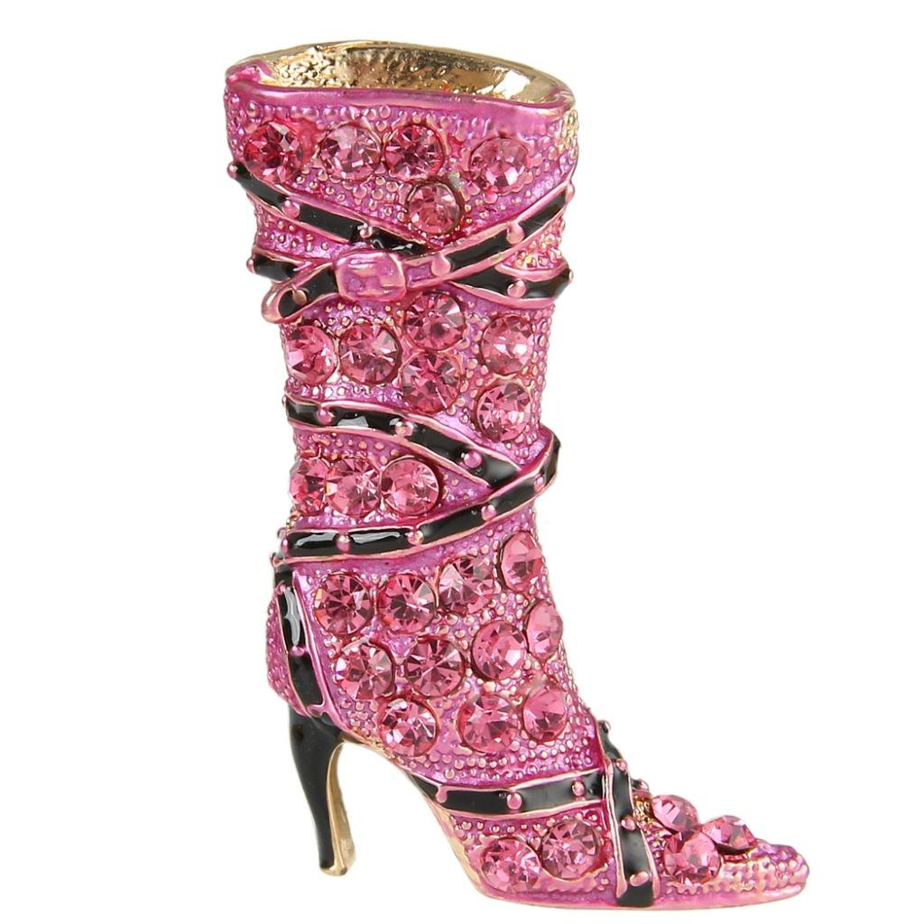 EVER FAITH Lady High-heel Brooch Pink Austrian Crystal Shoe Boot