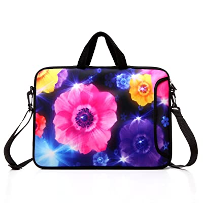 "10-Inch Laptop Shoulder Bag Sleeve Case with padded handle for 9.6"" 9.7"" 10"" 10.1"" 10.5"" Ipad/ Netbook/ Tablet/ Reader (Colourful Flower)"
