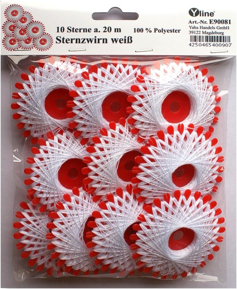 Sternchen- Zwirn 10 Sterne a E90083 20 m Sternzwirn Polyester weiß /& schwarz