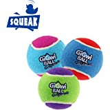 """Gigwi Dog Squeaky Tennis Ball 2.5"""", Bouncy and Assorted Colors Rubber Dog Tennis Balls Toy for Small and Medium Dogs (3 Pack)"""