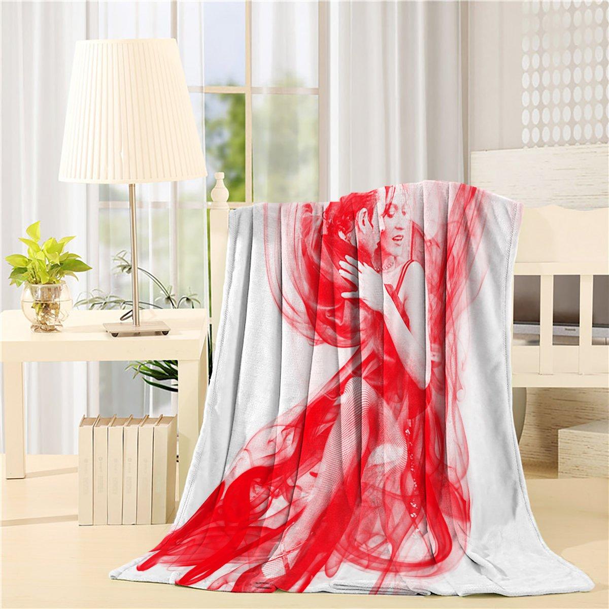Fleece Blanket Art Illustration of Dance Rhythm Romantic Blankets for Living Room Bedroom Wearing By Teather