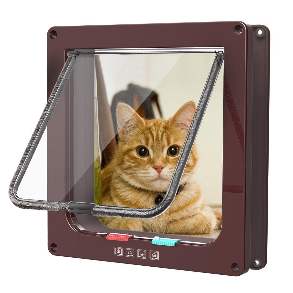 Sailnovo Katzenklappe Hundeklappe 4 Wege Magnet-Verschluss für Katzen, große hunde 23.5*25*5.4cm Hundetür Katzentür Haustierklappe, Installieren Leicht mit Teleskoprahmen L braun