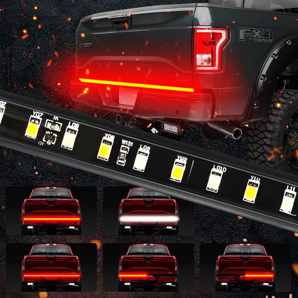 "MIHAZ 5-Function 60"" LED Truck Tailgate Light Bar 3528-90LED Waterproof IP67 Strip Light Running, Turn Signal, Brake, Reverse Light for Jeep Dodge Ford F-150 Pickup Trailer, Red/White, 1 Yr Warranty"