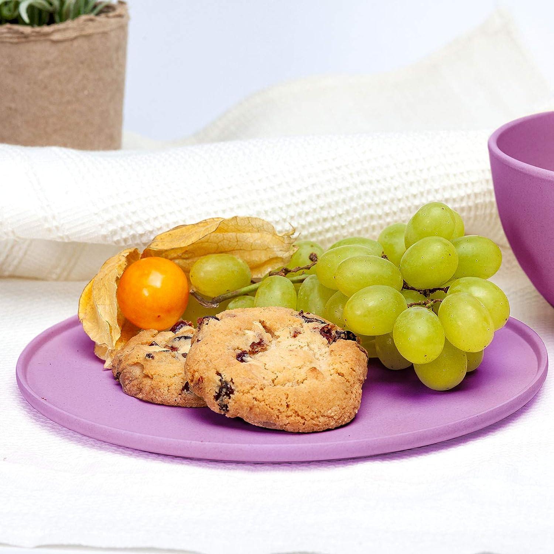 | assiette//assiette en bambou vaisselle lavable au lave-vaisselle 3x assiettes//vaisselle env hauteur 19cm /Ø x 1,2cm vaisselle service robuste et incassable plaque grill assiette