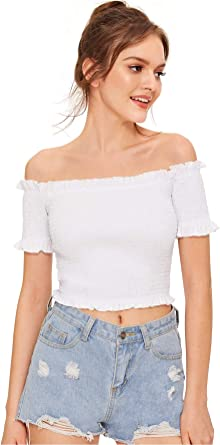 MAKEMECHIC Womens Off Shoulder Frilled Trim Pleated Bandeau Tube Tank Crop Tops