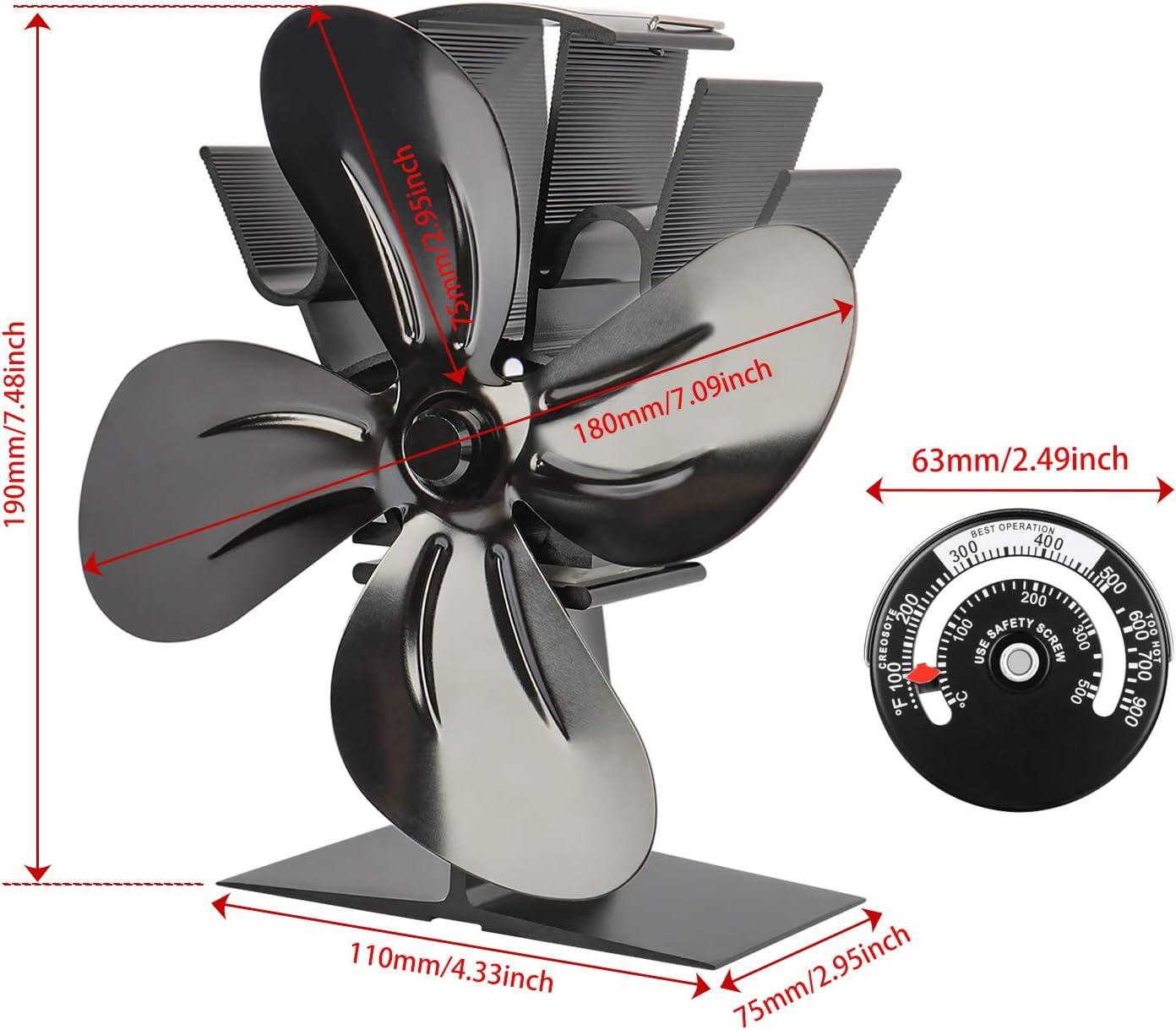 Ventilador de estufa de 4 aspas Ventilador de quemador de madera//le/ña con energ/ía t/érmica Circulaci/ón de calor ecol/ógica para madera//chimenea//Ventilador de funcionamiento ultra silencioso