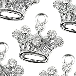 M81-E Cute Crystal Crown Charms Pendants Beads Wholesale (10 pcs)