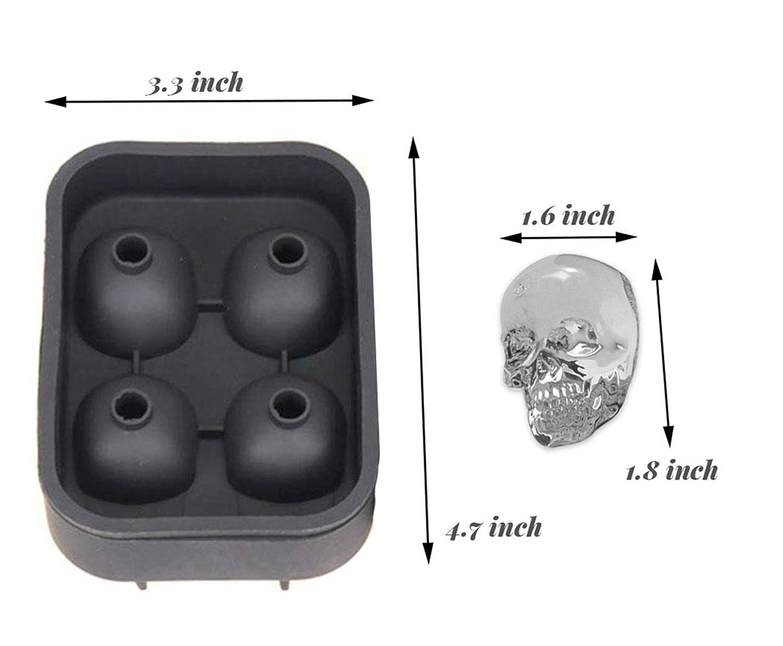 3d T/ête de mort en silicone Moule Bac /à Gla/çons rond anti fuite Moule /à Glace avec gratuit Entonnoir 1 C machine /à gla/çons avec couvercle bac Moule /à Glace de qualit/é alimentaire souple