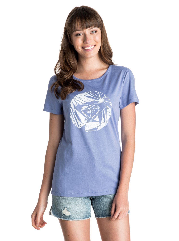Roxy Basic - Camiseta de cuello redondo para niña, color azul, talla XXS