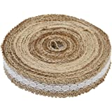 1 Metre of Natural Hessian Ribbon with Lace Detail, Available in 2.5cm, 4cm and 6cm Widths (2.5cm)