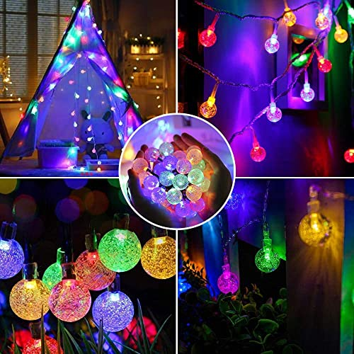 Correare Solar String Lights Outdoor,100 LED 45FT 8 Modes Multi-Colored Waterproof Globe Fairy Garden String Lights for Patio Party Home Yard Wedding Party Christmas Holiday Decoration