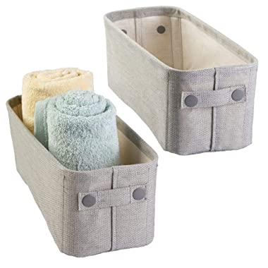 mDesign Soft Cotton Fabric Bathroom Storage Bin with Coated Interior and Handles - Organizer for Towels, Toilet Paper Rolls - for Closets, Cabinets - Textured Weave - Small, 2 Pack - Light Gray
