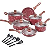 CSK Nonstick Cookware Set – Pots and Pans Set w/ Red Granite Derived Coating, Induction Compatible, w/ Bakelite Handle…