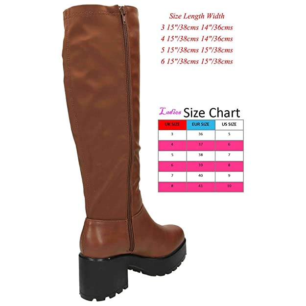 257d0465d84 Koi Couture Chunky Heel Platform Goth Punk Knee High Mid Lycra Stretchy  Boots 5 UK Brown  Amazon.co.uk  Shoes   Bags