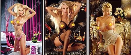 NUDE BLONDE GIRLS - 3 Different Girls - 3D Lenticular Poster