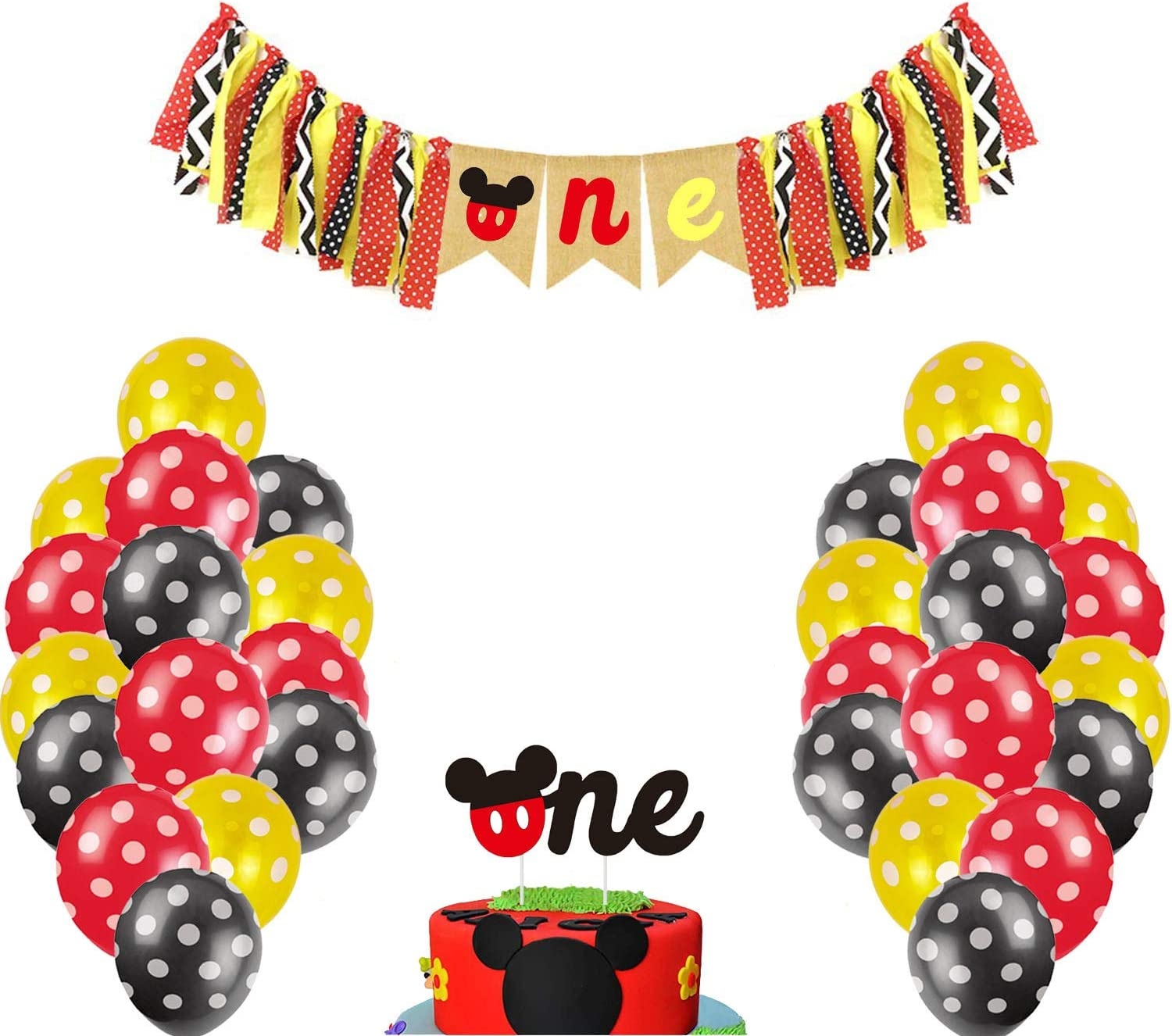BOODANAO Mickey Mouse Kids First Birthday Highchair Banner Mickey Mouse Happy Birthday Banner Decorations Kit,Mickey first birthday Decorations Kit Mickey Mouse Party Supplies