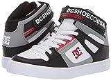 DC Boys' Pure HIGH-TOP EV Sneaker Black/Grey/RED