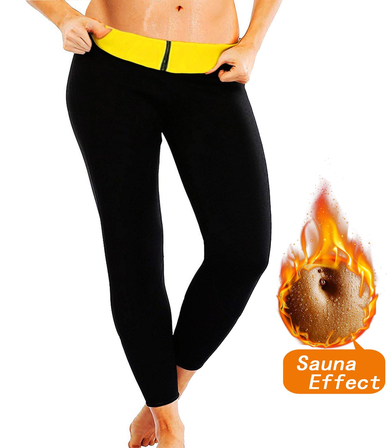 SEXYWG Women Ankle-Length Slimming Long Pants Neoprene Sweat Sauna Body Shapers,Black,Large-FBA