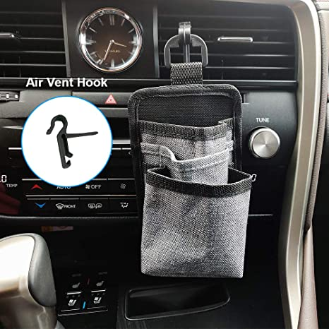 ROSON Car Air Vent Storage Bag Organizer Driver Pockets Sunglass Holder Phone Holder Coin Key Card Pens Case Pouch with Double Hook Black
