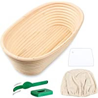 SODIAL Oval Bread Proofing Basket, Handmade Banneton Bread Proofing Basket Brotform with Bread Lame, Dough Scraper, Proofing Cloth Liner for Sourdough Bread, Baking(9.6 x 6 x 3 Inches)