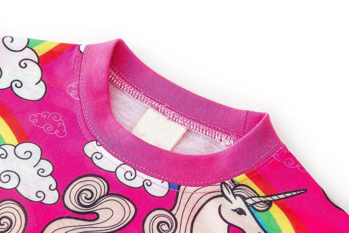 Cotrio Girls Unicorn Pajamas 2-Piece Clothing Sets Long Sleeve Sleepwear Shirts and Pants