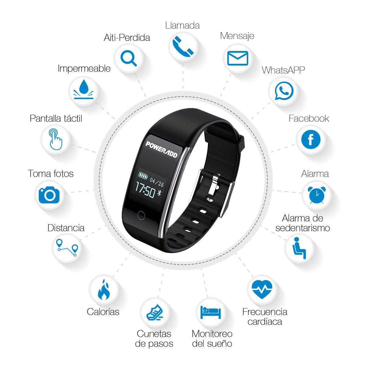 Poweradd Pulsera Inteligente de Presión Arterial y Frecuencia Cardíaca con Recordatorio de Llamada,Mensaje,Sentatorio etc. Compatible con iOS, Andriod.Color Negro.