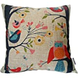 Decorbox Cotton Linen Square Throw Pillow Case Decorative Cushion Cover Pillowcase Cartoon Cute Owls and Trees 18 X18  BR WE RSDF