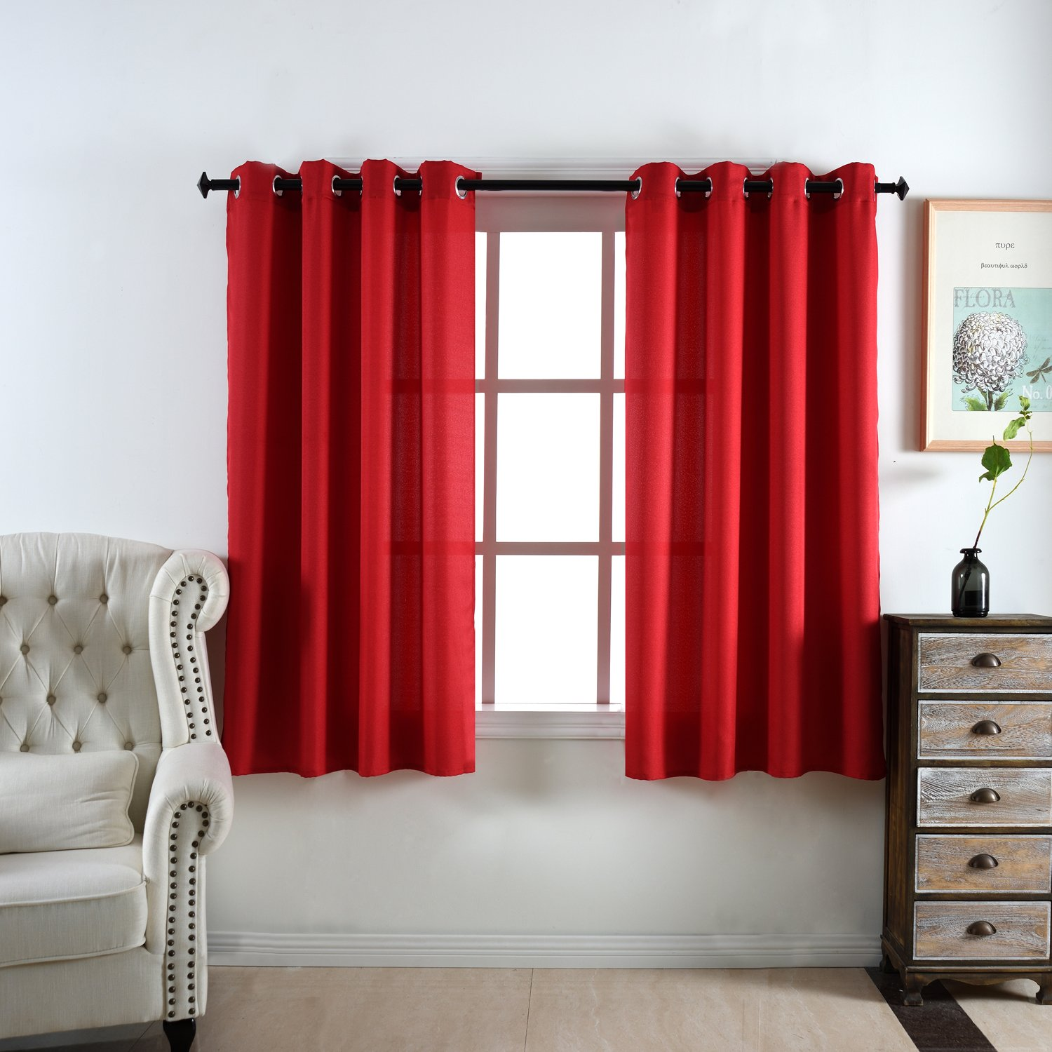 DWCN Red Curtains Faux Linen Country Modern Style Draperies 8 Grommets Window Curtain Panel