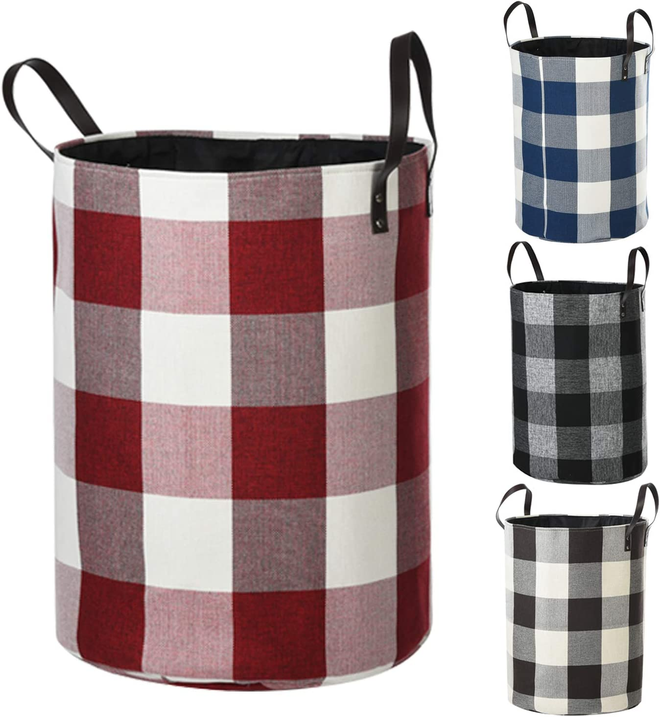 Haundry Foldable Large Laundry Hamper with Durable Leather Handles, 22''Tall Large Round Laundry Basket for Clothes Storage (Red)