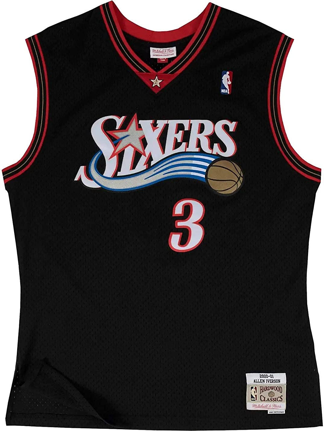 Mitchell /& Ness Woman Swingman Philadelphia 76ers Allen Iverson #3 2000-2001 Black