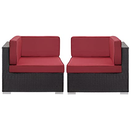 Astounding Modway Convene Corner Sectional Outdoor Patio Set Of 2 Espresso Red Machost Co Dining Chair Design Ideas Machostcouk