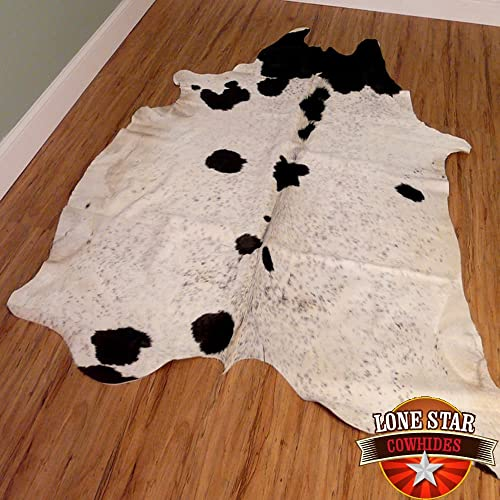 New Cowhide Rug Cowskin Cow Hide Leather Black and Off White Salt Pepper A602