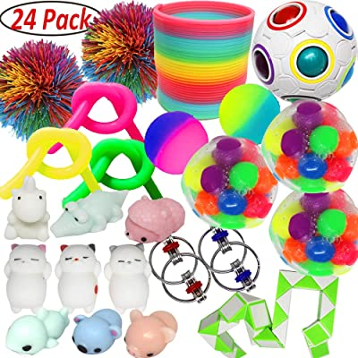 Jalousie 24 PCs Sensory Toy Fidget Stress Relief Toy for Adults and Kids - Conform to ASTM Toy Standard Value Bundle - Include Squeeze Balls Stretchy Strings Squishy Toy Puzzle Rubber Stringy Ball: Toys & Games