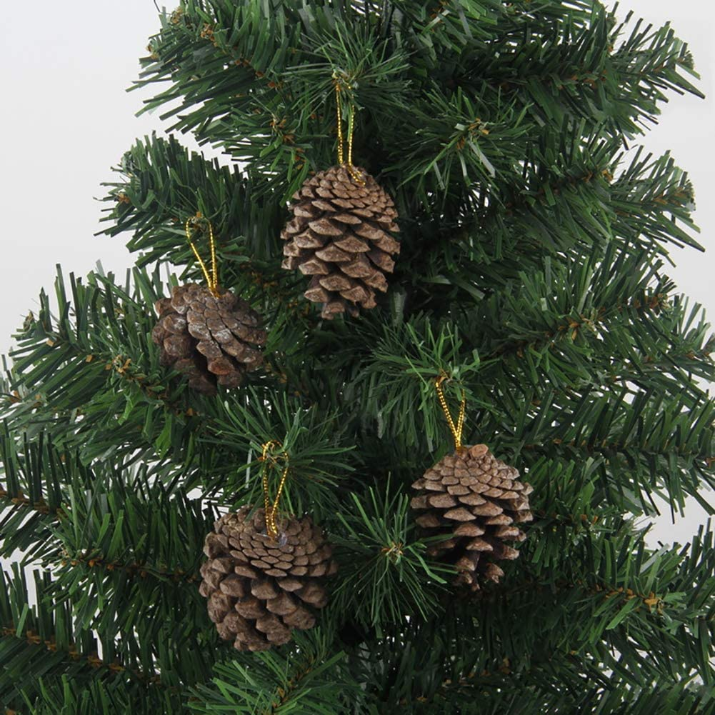 Lsgepavilion 6Pcs Christmas Natural Pine Cone Xmas Tree Garland Window Showcase Decor
