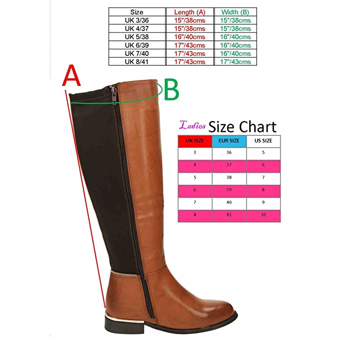 bb96c29657703 Krush Knee High Flat Stretchy Riding Boots Brown: Amazon.co.uk: Shoes & Bags