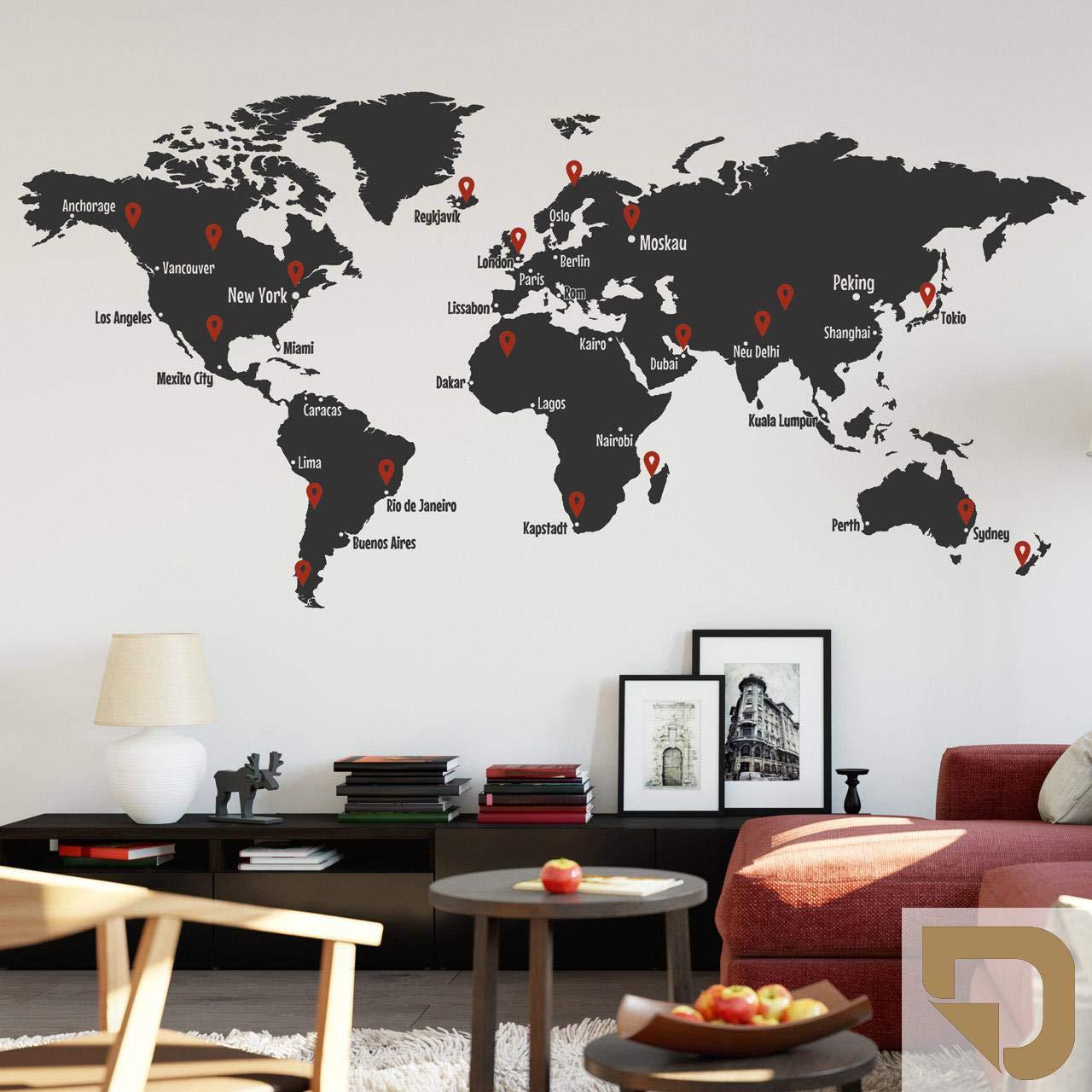 DESIGNSCAPE® Wandtattoo Weltkarte mit Städtenamen und Pins zum Markieren von Reisezielen und Wunschorten 160 x 78 cm (Breite x Höhe) Farbe 1  hellbraun DW807427-M-F10
