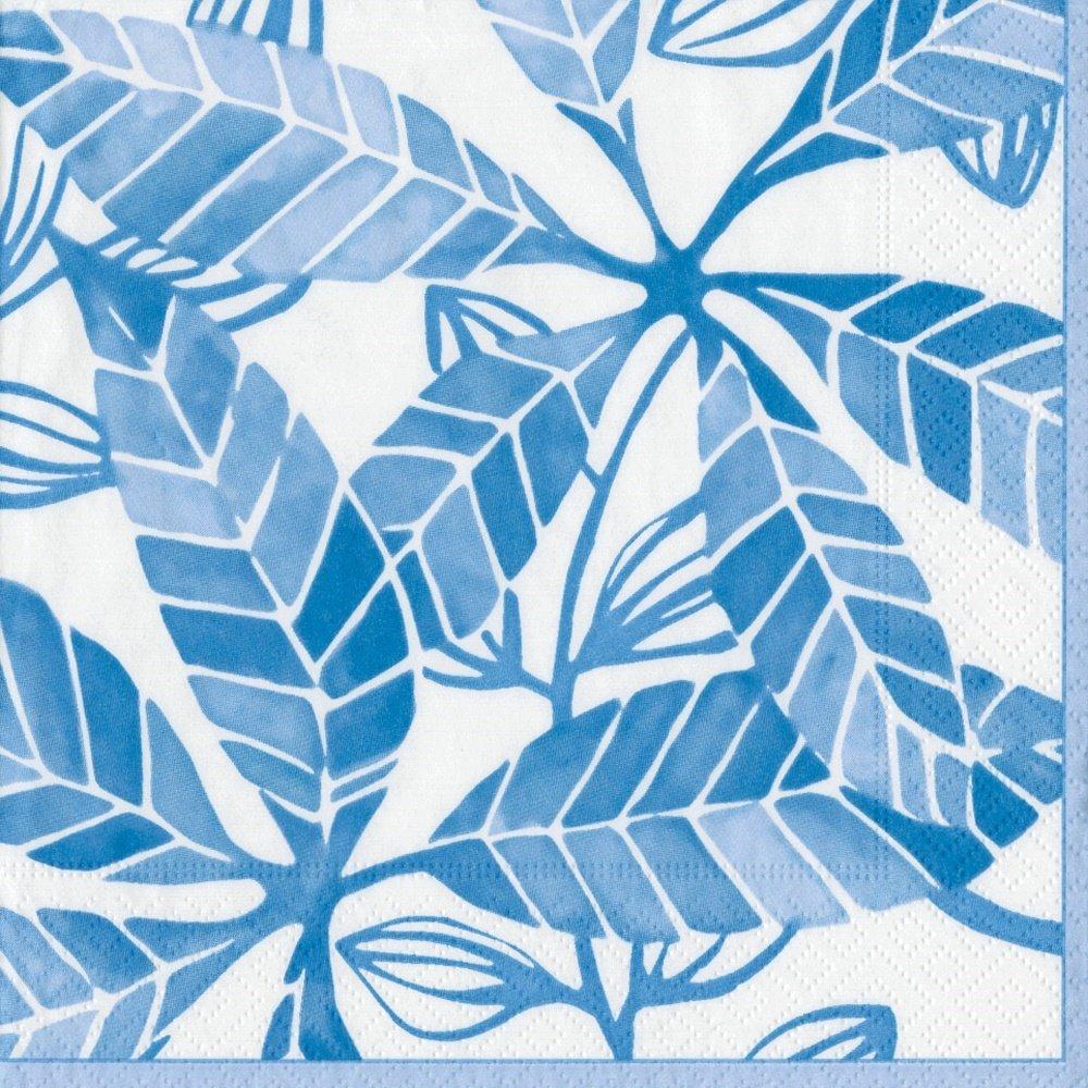 Pack of 15 12500G Entertaining with Caspari Lulus Leaf Guest Towels Blue