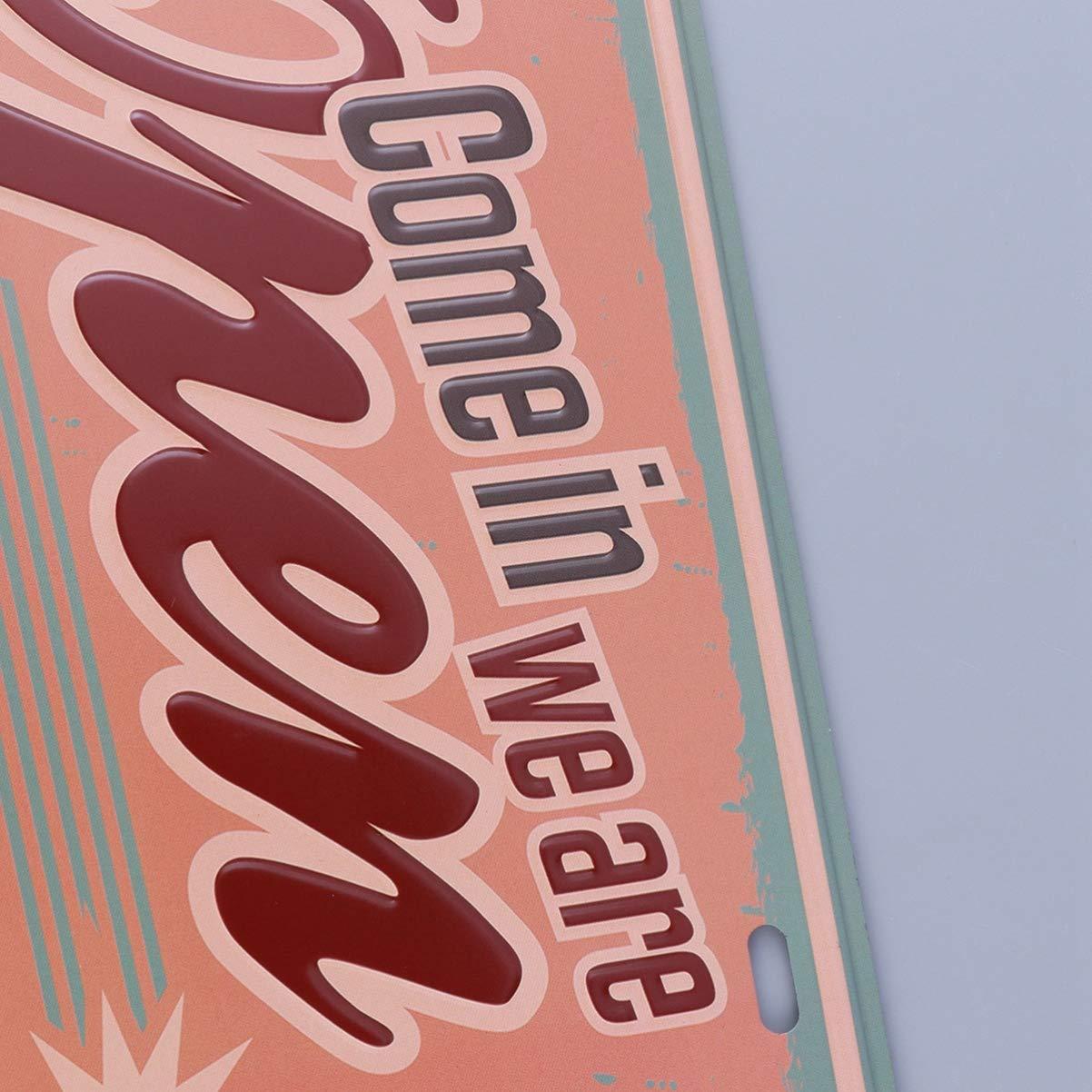 LIOOBO 1PC Moda Creativa Cl/ásica Vintage Venga estamos abiertos Cartel de chapa met/álica para Hotel Hogar Restaurante Pub Club Cafeter/ía