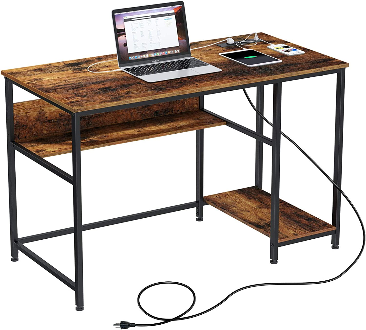 """Rolanstar Computer Desk with Power Outlets, 47""""/55"""" Office Desk with 2 Storage Shelves with Corner Protectors, Study Table, Workstation,Business Style, Stable Metal Frame, RTB00D-YE140-1"""