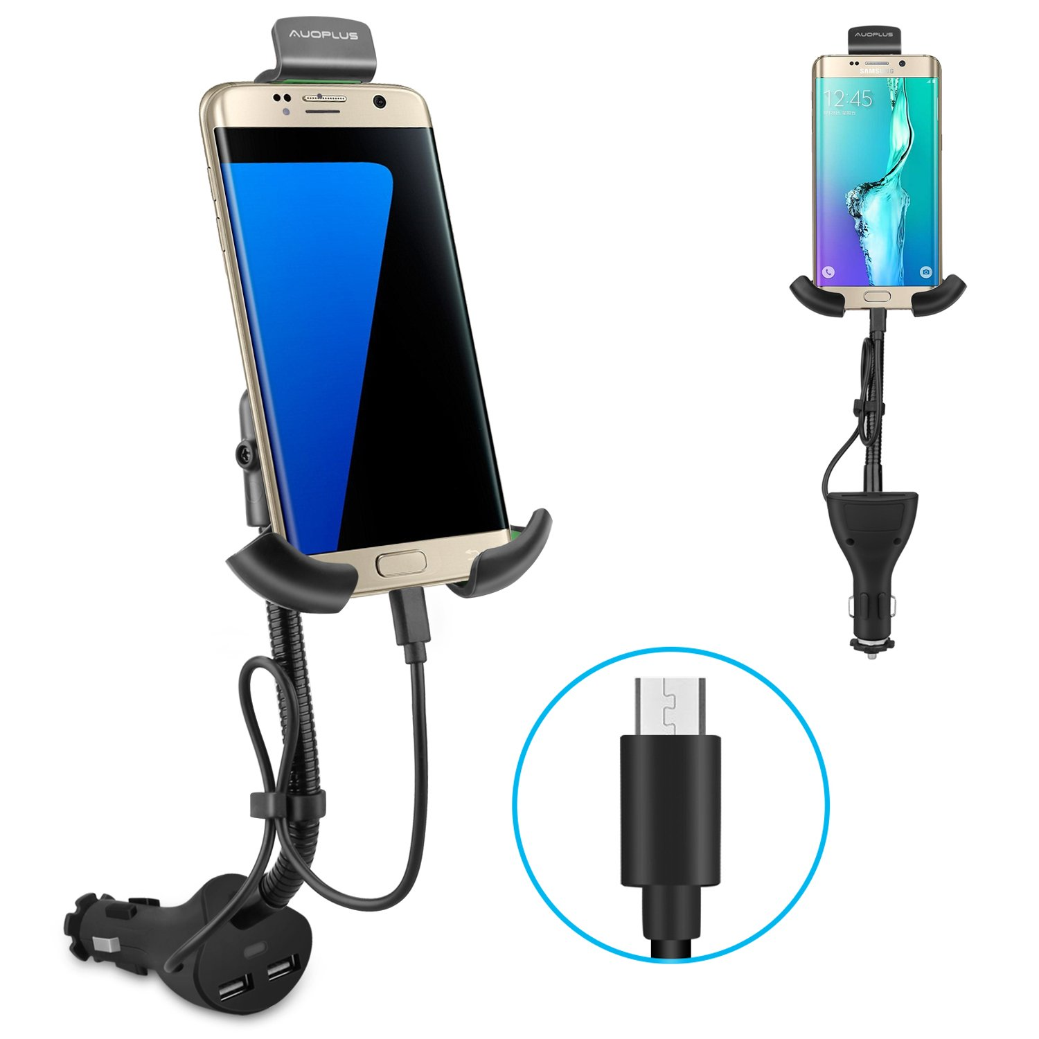 AUOPLUS Gooseneck Car Outlet Mount Cigarette Lighter Phone Holder Charger with Built-in Charging Cord for Samsung Galaxy and More Android Smartphones