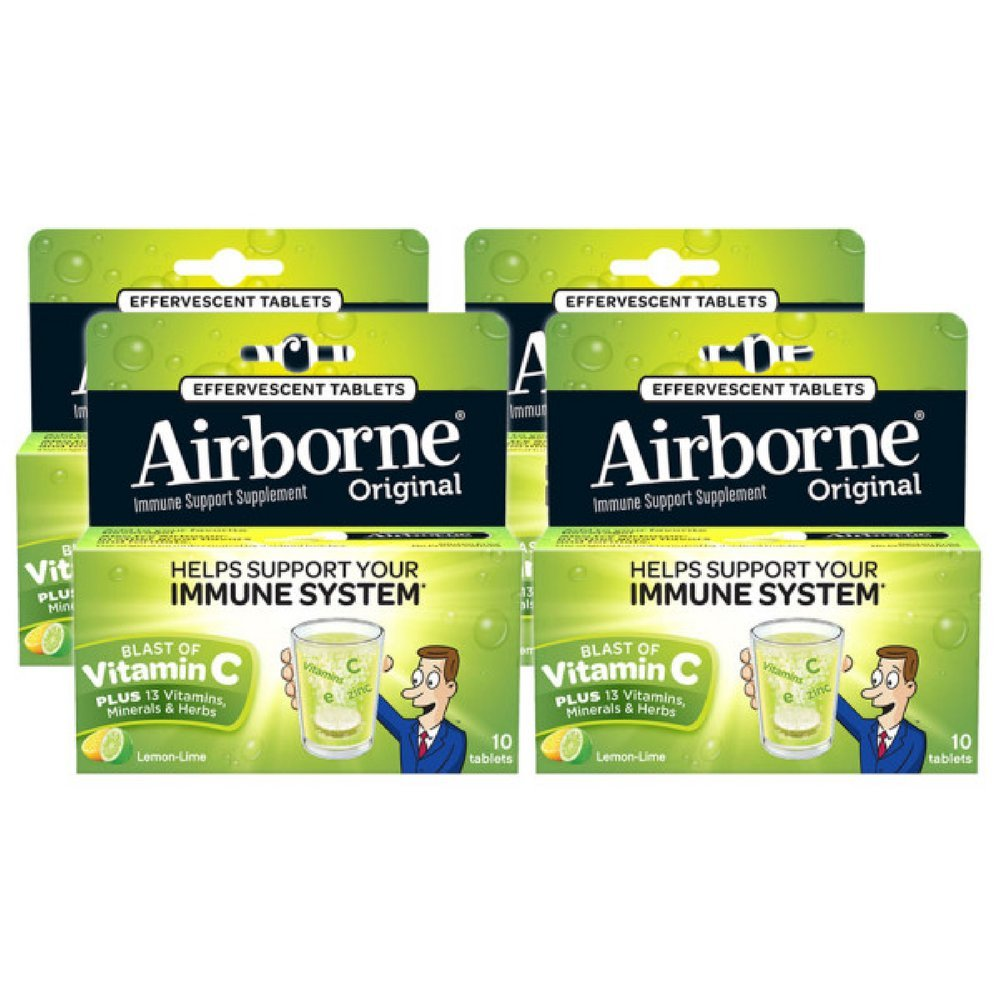 Airborne Lemon Lime Effervescent Tablets, 10 Count - 1000mg of Vitamin C - Immune Support Supplement (Pack of 4) by Airborne