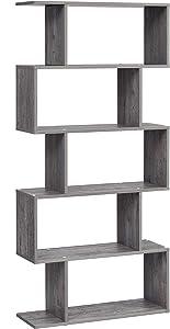 VASAGLE Bookcase, Display Shelf and Room Divider, Freestanding Decorative Storage Shelving, 5-Tier Bookshelf, Weathered Birch ULBC062N01