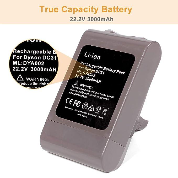 YHR 22,2 V 3000 mAh Tipo A Dyson DC35 Li-Ion batería de Repuesto para Dyson DC30 DC31 DC34 DC44 917083-01 SV06 917083-01 aspiradora de Mano (no Compatible ...